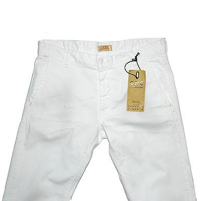 100% Vero Cnc Costume National Jeans London Pantalon Blanc 33 Ou 34 Coton Stretch White