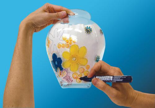 Pebeo Vitrea 160 Permanent Glass Paint Marker Pen Sets of 9 Assorted Colours