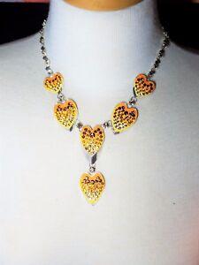 Heart Necklace Vintage Enamel Rhinestones Earrings Gorgeous