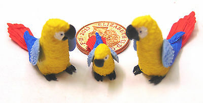 1:12 Scale 2 Parents /& A Baby Red Parrot Tumdee Dolls House Miniature Birds P14