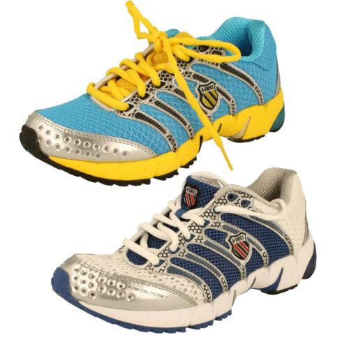 Ladies White//Blue Neon Blue//Yellow K-Swiss Lace Up Trainers  KONA