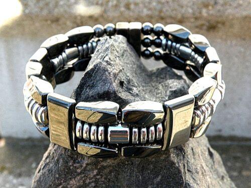Men/'s Women/'s Silver//Black 100/% Magnetic Hematite Bracelet Anklet Necklace 3 row