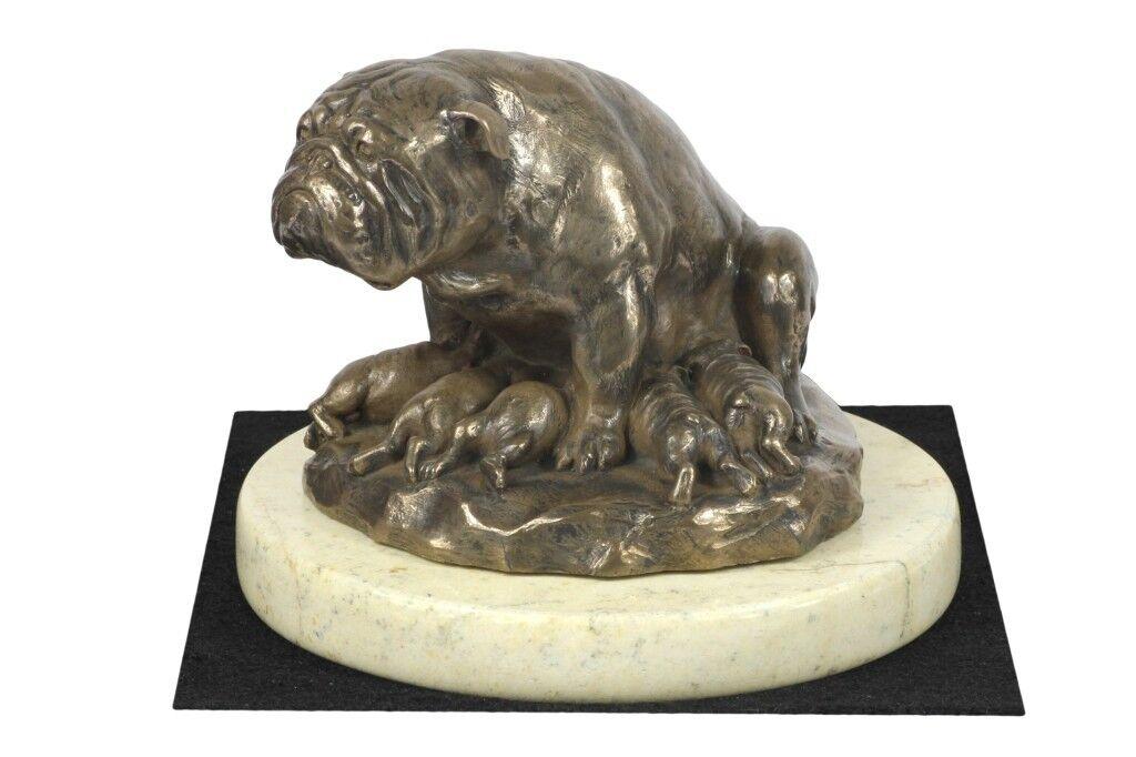 BullHund inglese tipo 3 - figurina di cane su marmo sabbia, Kunst Hund IT