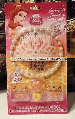 25pc DISNEY PRINCESS Dress Up Set//Lot//Kit BELLE Tiara+Ring+Sticker Earings+Nails