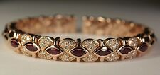 Sonia Bitton 14K Rose Gold 5 CT Marquise Ruby Diamond Bracelet Flex Bangle Cuff