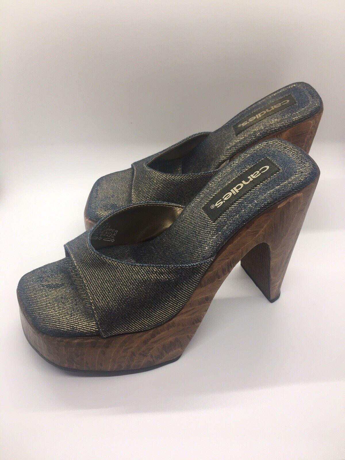 CANDIE'S Vintage 1990's Denim Platform Block Heel… - image 10