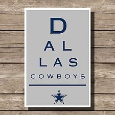 Dallas Cowboys Art Football NFL Eyechart Poster Man Cave Decor 12x16""