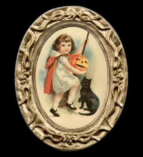 Halloween Girl And Cat Miniature Dollhouse Picture
