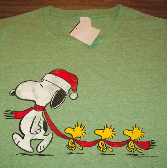 Snoopy And Woodstock Christmas.Vintage Style Peanuts Snoopy Woodstock Christmas T Shirt Xl New W Tag