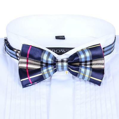 Men Satin Bow Tie Dickie Pre-Tied Wedding Tuxedo Tie Necktie Blue Pink Tartan