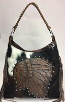 Raviani Indian Head Brindle Brown Leather Hobo Bag W/ Fringe & Silver Studs