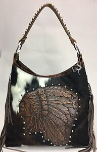 8ea5041146d7 Details about Raviani Western Indian Chief Brindle Brown Leather Bag W/  Fringe & Silver studs