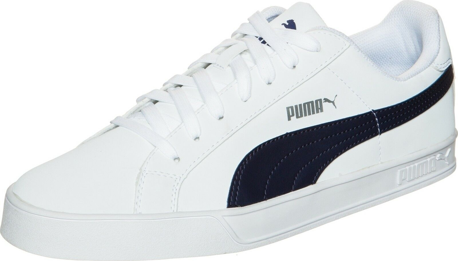 PUMA  Herren Smash Vulc Weiß Leder Trainers Schuhes 359622-10 Weiß Vulc / Peacoat d83ba8
