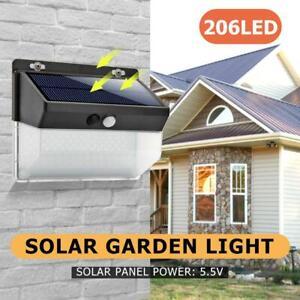 206 LED Solarleuchte Solarlampe mit Bewegungsmelder Außen Fluter Wandstrahler