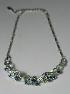 Coro Rhinestone Necklace Set Vintage Mid Century Coro Jewelry Clip Earrings Silver Blue Rhinestone Coro Earrings Coro Choker Necklace