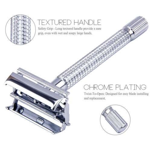 Men's Traditional Classic Double Edge Chrome Shaving Safety Razor 5 Blades