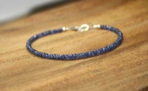 Natural-Blue-Sapphire-Faceted-Gemstone-Beaded-Bracelet-925-Silver-Clasp-7-5-039-039