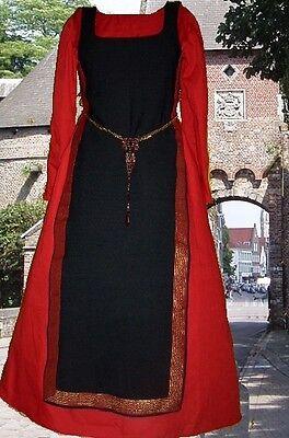 Medieval Renaissance SCA Garb Gown Costume Black Tabard Tan Kirtle 2pc Sdlcg LXL