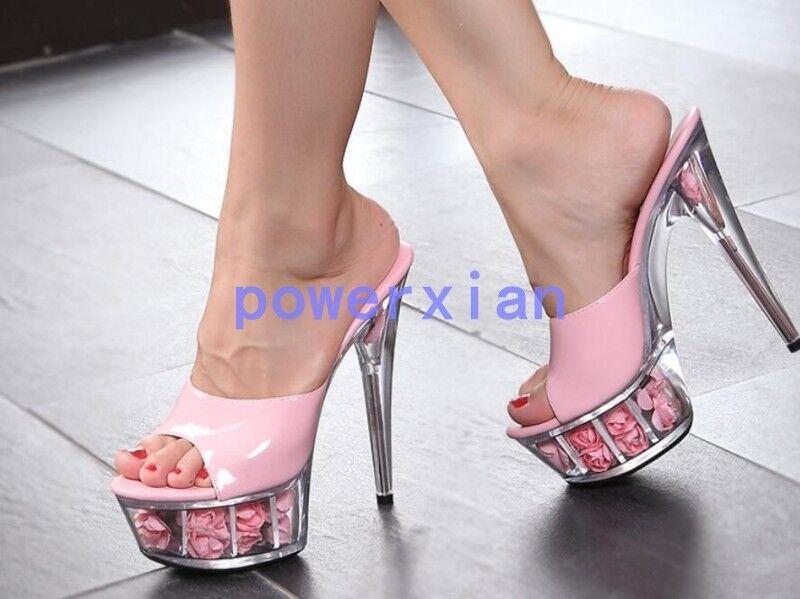 Donna Ladies Peep Toe Platform Stiletto Clear Heel Sandal Party Mules Slide Hot