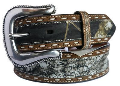 Nocona Western Mens Belt Stitch Mossy Oak Camo Brown  N24872222