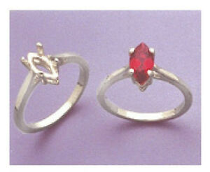(10x5-20x10mm) Marquise Wire Sterling Silver Pre-Notched Ring Setting Size 5-9