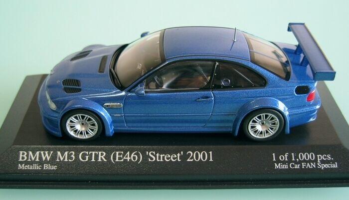 Bmw m3 gtr street 2001 blaue e46 1 43 minichamps mini - auto - fan besondere
