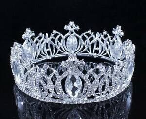 BEAUTIFUL FULL CROWN CLEAR AUSTRIAN CRYSTAL RHINESTONE TIARA PAGEANT PROM T11985