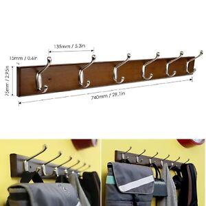 Image is loading Metal-6-Hooks-Wall-Mount-Holder-Wood-Coat-