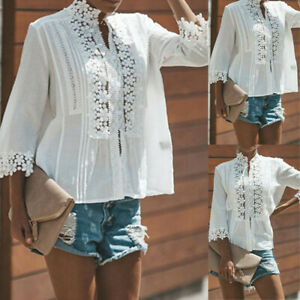 Womens-Ladies-Long-Sleeve-Blouse-T-Shirt-Summer-Loose-Casual-Linen-Cotton-Tops