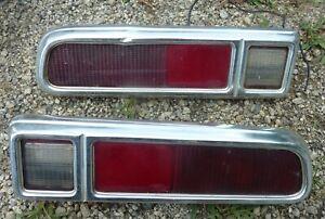 1970-71-72-73-74-75-76-77-Ford-Maverick-Tail-Light-Assembly-Pair-LH-RH-Bezel-OEM