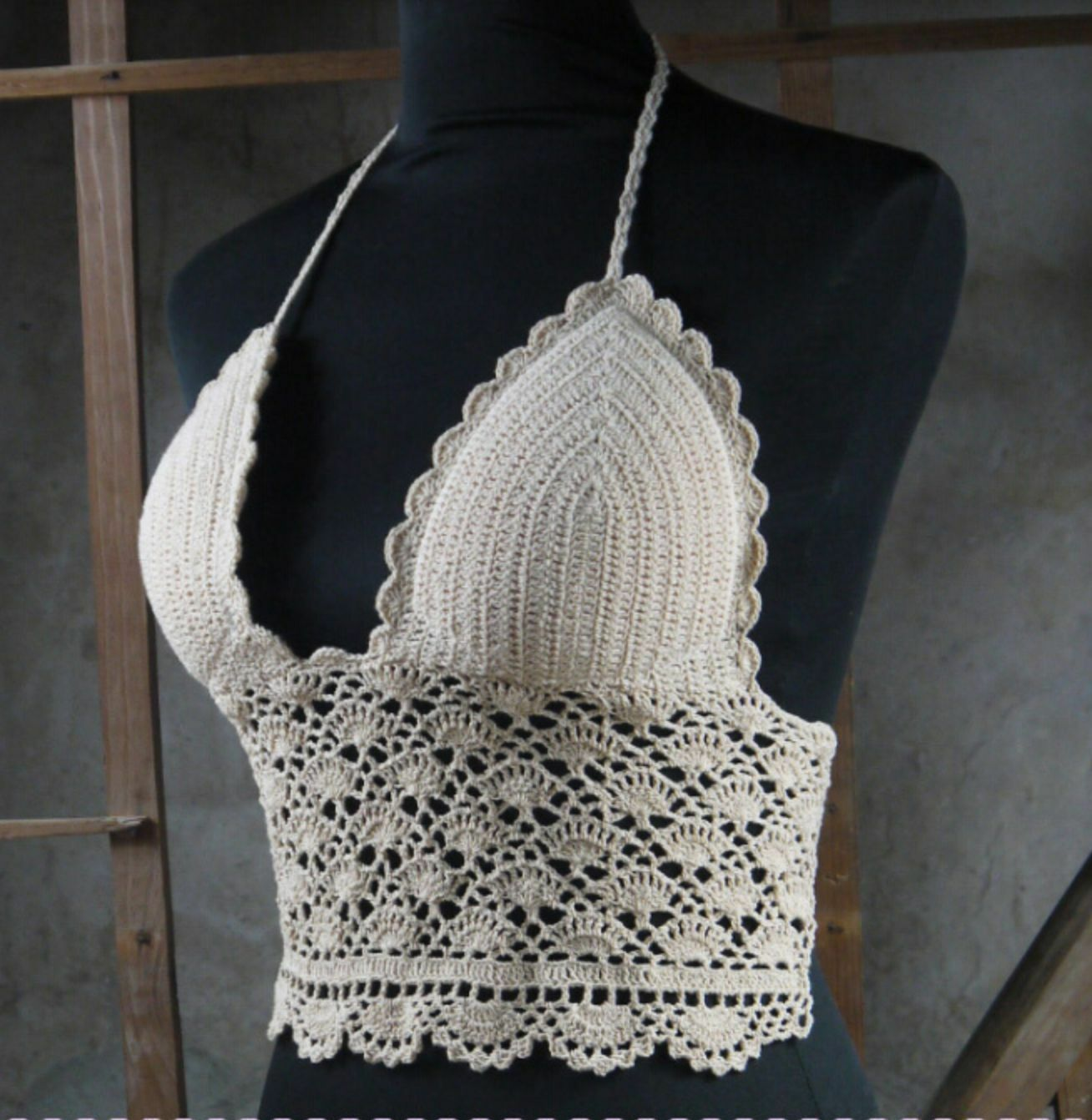 Handmade Boho Crochet Ethnic Gypsy Bralette Punk Crop Top Bikini Hippy Tribal
