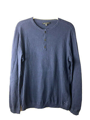 john varvatos Knit Henely Sweater Navy Blue Cotton Cashmere Mens Size Large L | eBay