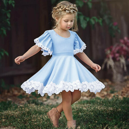 Toddler Kid Baby Girl Short Sleeve Lace Folral Patchwork Princess Dress Clothes