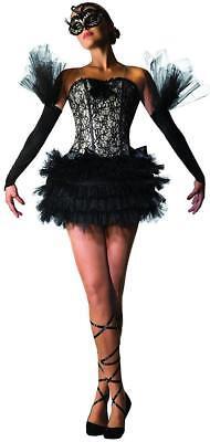 Ladies Gothic Black Swan Lake Ballerina Masquerade Costume Halloween Fancy Dress