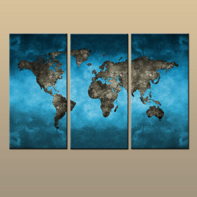 Home Decor 3 Pieces Set World Map Abstract On Canvas Hd Prints Wall Art Painting