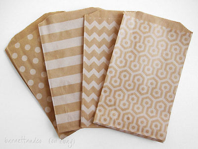 Brown Paper Kraft Bags with Assorted Designs, Size 5.5 x 7.5 Inches, Set of 50