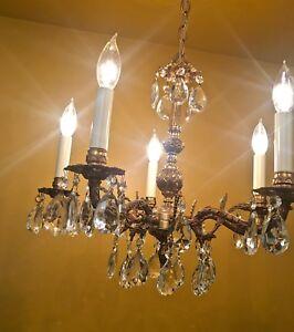 Details About Vintage Lighting 1960s Crystal Chandelier Hollywood Regency