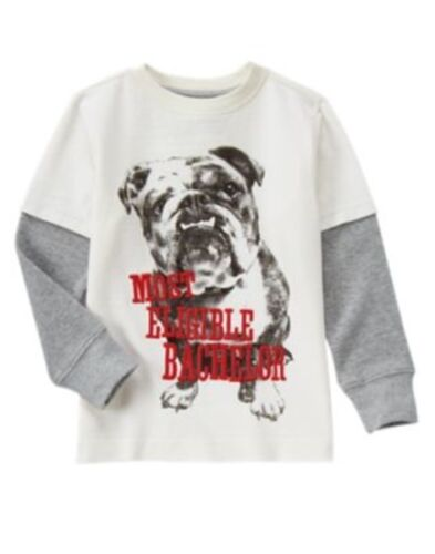 GYMBOREE FUN AT HEART BULLDOG Most Eligible Bachelor L//S TEE 5 6 7 8 10 NWT