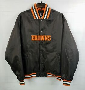 Cleveland-Browns-NFL-Team-Apparel-Satin-Jacket-Men-039-s-XXL-2XL-Brown-Orange