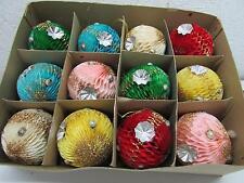 Vintage Christmas Honeycomb Tissue Mercury Glass Bead Ornament IOB Japan
