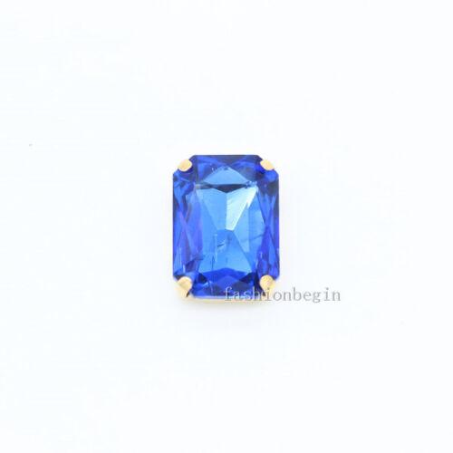 9p 18x27mm Octagon Cristal Piedra de Costura Coser botón del rhinestone oro Garra
