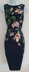 Para-mujer-Hobbs-Azul-Floral-Sin-Mangas-Elastico-Forrado-Shift-Botanico-Vestido-6-Nuevo