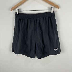 Speedo Mens Board Shorts Large Black Elastic Waist Drawstring Slim Fit