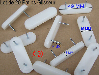 Lot de 20 Patins Glisseur Barrette Blanc à clouer,Long 49 mm,Larg 15,,épais 6 mm | eBay