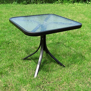 small square table outdoor glass top side patio metal balcony pool coffee home ebay. Black Bedroom Furniture Sets. Home Design Ideas