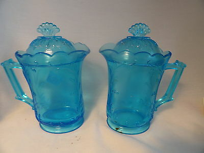 Persian Blue Pressed Glass Floral Pattern Lidded Creamer Syrup Pitcher2