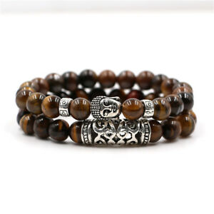 Men-Charm-Buddha-Healing-Reiki-Bracelets-8mm-Natural-Black-Lava-Stone-Beads-Set
