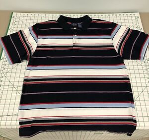Vintage-Bugle-Boy-90-039-s-Men-039-s-Red-White-Blue-Striped-Short-Sleeve-Polo-Shirt-XL
