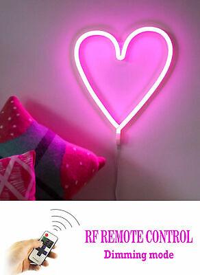 Rosa Acceso Luce Led Cuore Love Bambine Camera Notte Dimmerabile Telecomando