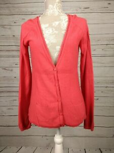 Fat-Face-V-Neck-Wool-Blend-Lightweight-Cardigan-Red-Size-UK-10
